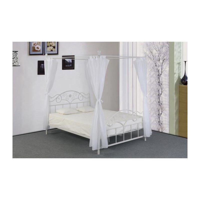 lit adulte m tal baldaquin aurelie sommier 160x200 299 00. Black Bedroom Furniture Sets. Home Design Ideas