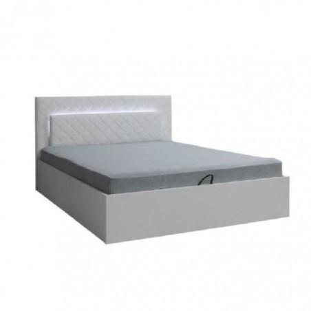 Lit design 160 x 200 avec LED + 2 chevets PANAREA couleur blanc.