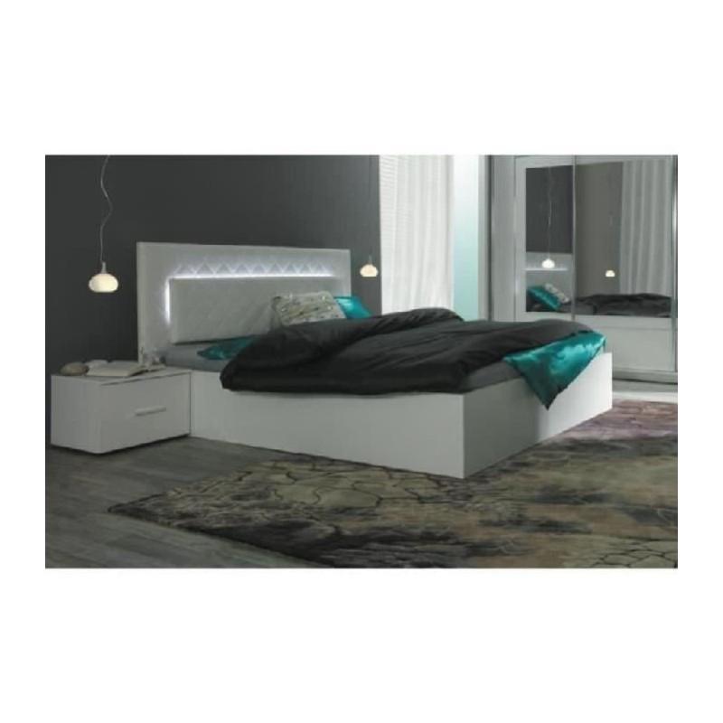 Lit design 160 x 200 avec led 2 chevets panarea 469 00 - Tete de lit pas cher design ...