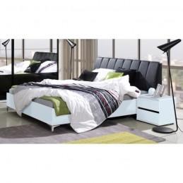 Lit adulte 160x200 cm + Tête de lit + sommier SARAGOSSA noir et blanc.