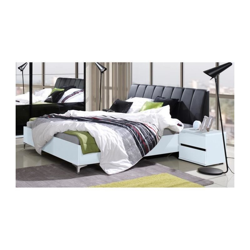 lit adulte 160x200 cm t te de lit sommier saragossa noir et bla. Black Bedroom Furniture Sets. Home Design Ideas