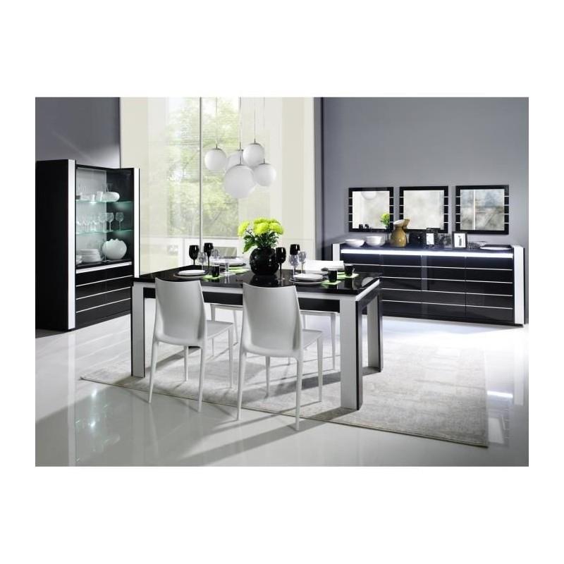 Table 160 cm + 4 chaises LINA. Table pour salle à manger brillante noire et blanche avec 4 chaises simili cuir.