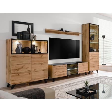 ENSEMBLE MEUBLES DE SALON TINO composé de trois meubles et d'une étagère de style industriel.