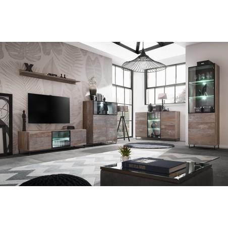 ENSEMBLE MEUBLES DE SALON KAN composé de quatre meubles et d'une étagère de style industriel.