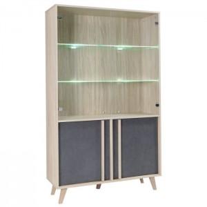 Vitrine, vaisselier, argentier MALMO grand modèle + LED.