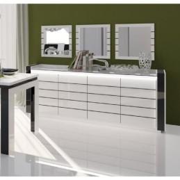 Buffet, bahut, enfilade LINA avec LED + 3 x miroirs.