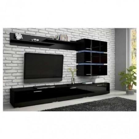 Meuble TV, ensemble complet ERGOS noir mat - façades noires brillantes + LED. Composition mural moderne