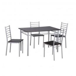 Table de cuisine et salle à manger + 4 chaises ANKARA coloris wengé et gris