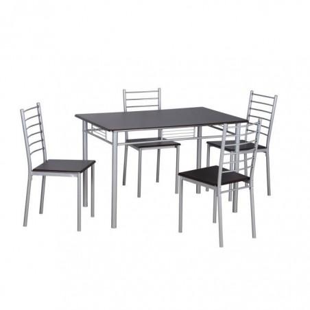 TABLE A MANGER AVEC CHAISES - 1 Table et 4 chaises pour votre salle à manger ou votre cuisine, ANKARA coloris wengé et gris