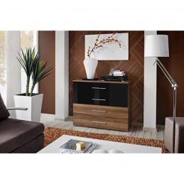 Commode pour chambre à coucher GONE corps + 2 tiroirs prunier / 2 tiroirs noirs brillants