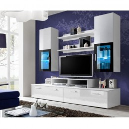 "Meuble TV Mural Design ""Mini"" 200cm Blanc"