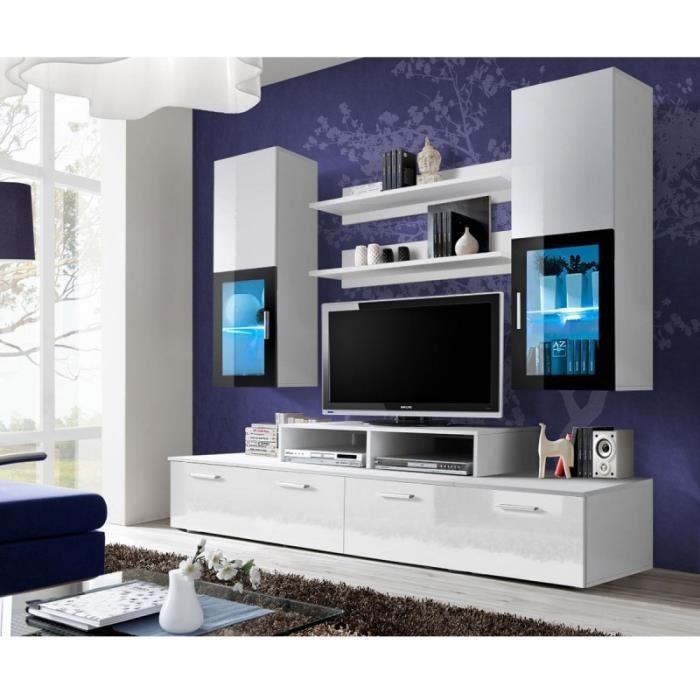 ensemble complet meuble tv mural design mini 200cm blanc