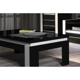 Table basse design LINA noir et blanche laquée