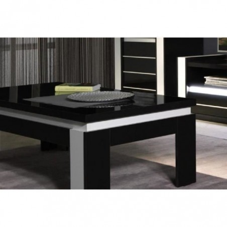 Table basse design LINA coloris noir et blanc brillant