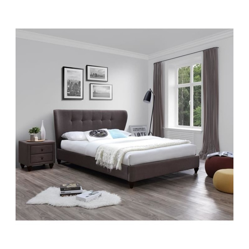 lit pomona 160x200 avec sommier tissu brun 399 00. Black Bedroom Furniture Sets. Home Design Ideas