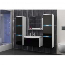 Salle de bain complète LUNA blanc et noir façade laqué, brillante high gloss