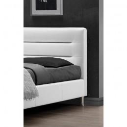 Lit adulte design FENIX blanc + sommier 180x200cm. Meuble moderne en simili cuir