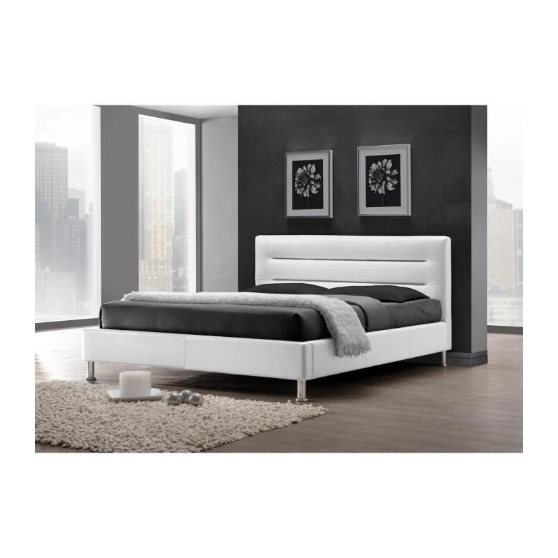 chambre À coucher lit adulte design fenix blanc  sommier