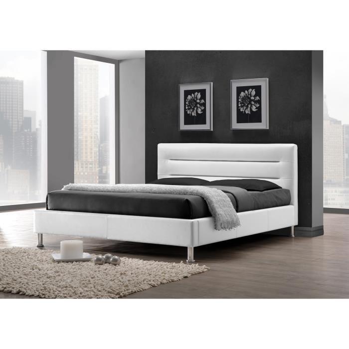 lit deux places lit adulte design fenix blanc sommier. Black Bedroom Furniture Sets. Home Design Ideas