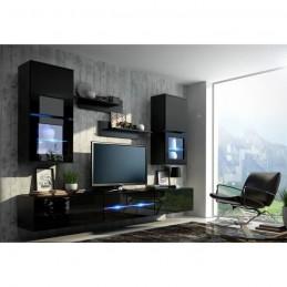 Meuble de salon, meuble TV complet suspendu BILBAO blanc et noir + LED.
