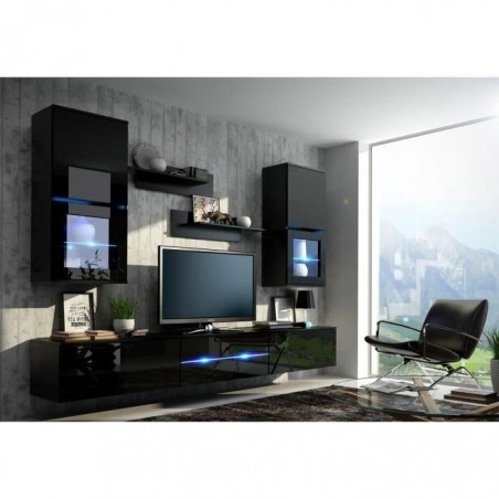 Meuble de salon, meuble TV complet suspendu BILBAO noir + LED. Meuble design et tendance avec façades brillantes high gloss