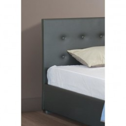 Lit une personne gris capitonné IGOR 90x200 cm + sommier
