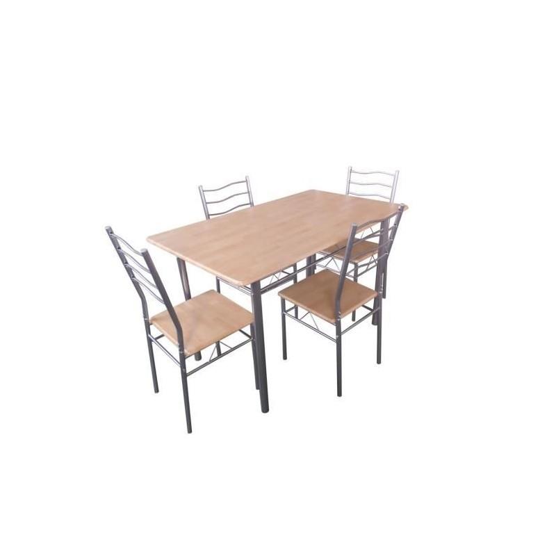 Ensemble Table et 4 chaises Kuna Métal et bois naturel