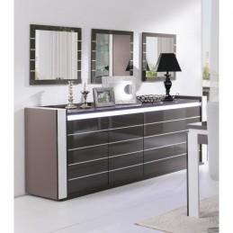 Buffet LINA gris et blanc avec LED + 3 miroirs
