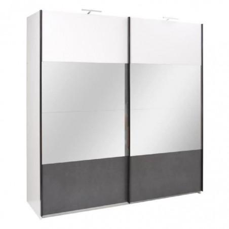 Armoire RENATO, 2 portes coulissantes avec miroirs, garde robe pour chambre à coucher, dressing, couleur blanche et grise