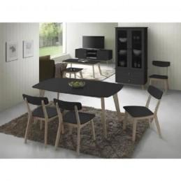 Ensemble table et 6 chaises Bourges noir