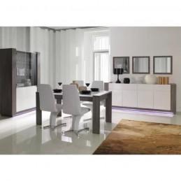 PRICE FACTORY - Ensemble AUGUSTO pour salle à manger. Buffet grand modèle + miroirs + vitrine / vaisselier + table 160 cm.
