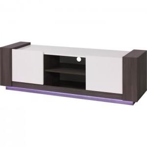 PRICE FACTORY - Meuble TV AUGUSTO coloris gris bodéga et blanc brillant