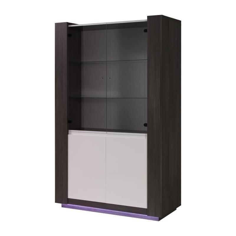 vitrine vaisselier augusto coloris gris bodega et blanc. Black Bedroom Furniture Sets. Home Design Ideas