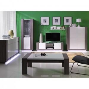 PRICE FACTORY - Table basse AUGUSTO coloris gris bodéga et blanc brillant, meuble design idéal pour votre salon