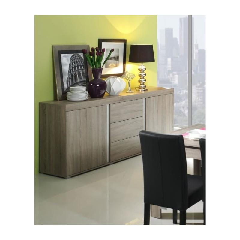 PRICE FACTORY - Buffet, bahut,enfilade AVIGNON coloris sonoma finition blanc