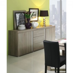 PRICE FACTORY - Buffet, bahut,enfilade AVIGNON coloris sonoma finition blanc