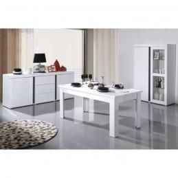 Table extensible pour salle à manger AVIGNON blanche laquée. Dimensions 180-220 cm avec rallonges.