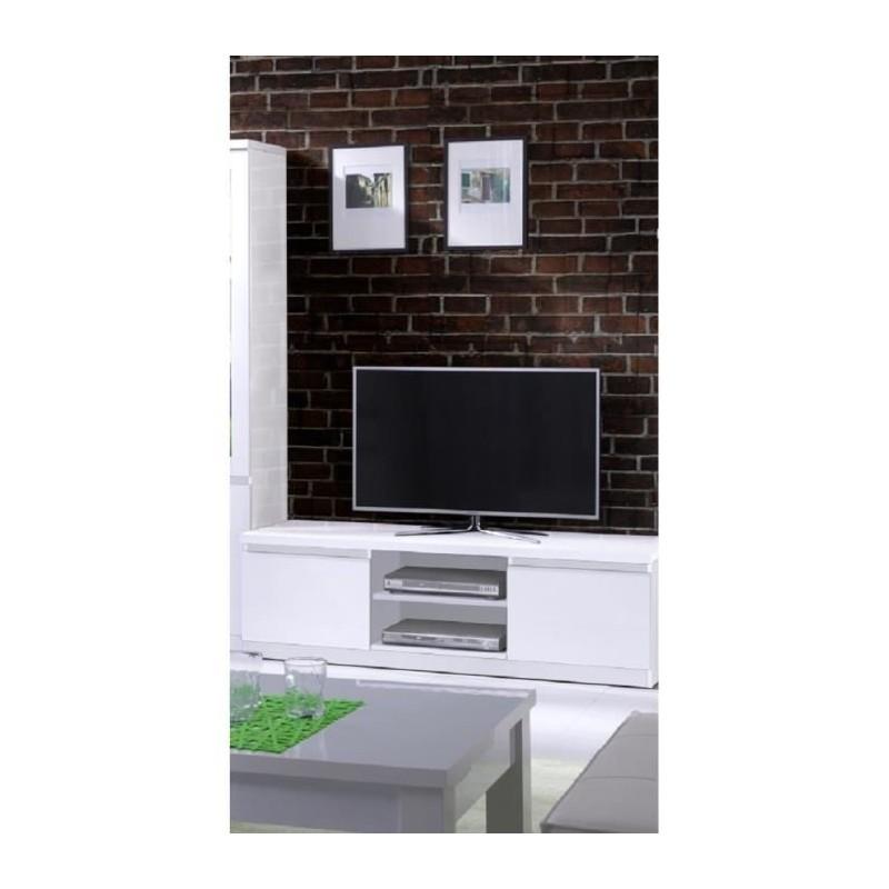 PRICE FACTORY - Meuble TV FABIO coloris blanc brillant. Meuble design pour votre salle à manger.
