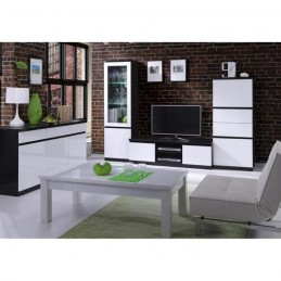 PRICE FACTORY - Vitrine,bibliothèque FABIO noir et blanc brillant high gloss + LED.