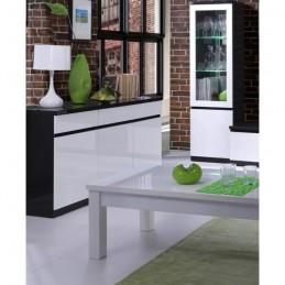 Buffet, bahut, enfilade 3 portes et 3 tiroirs FABIO. Noir et blanc laqué high gloss