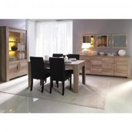 Salle à manger complète FERRARA. Buffet + Vitrine/vaisselier + Miroirs + table en 160 cm