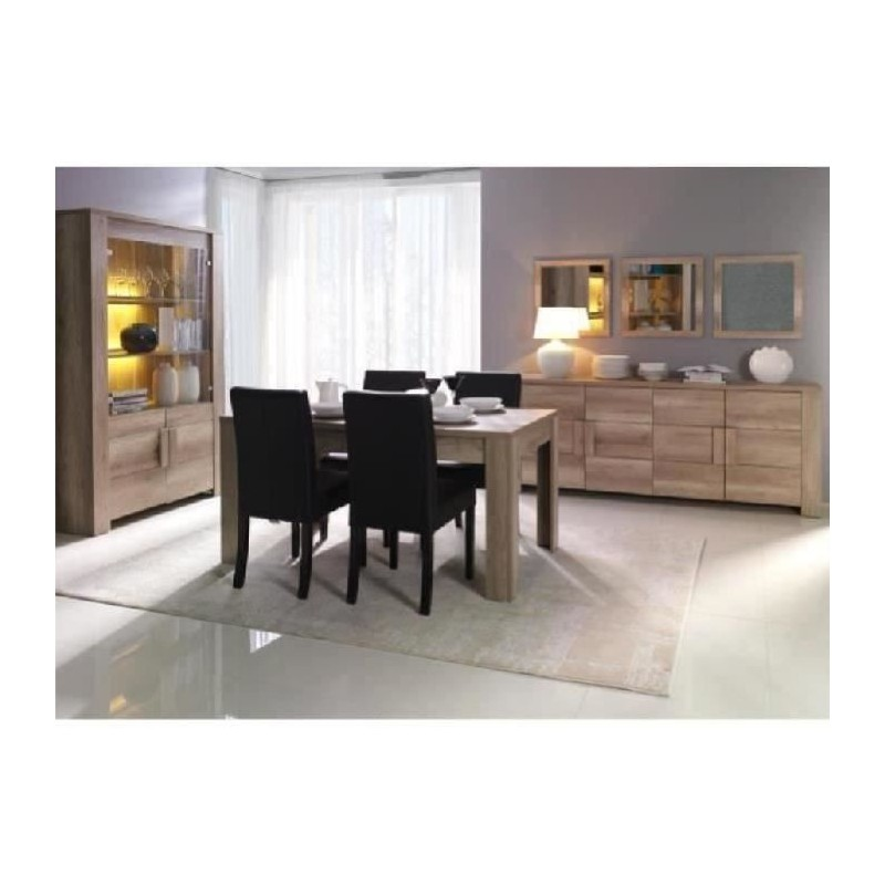 Salle à Manger Complète FERRARA. Buffet + Vitrine/vaisselier + Miroirs +  Table En