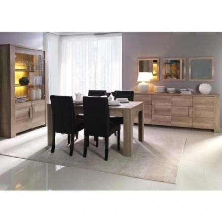 Salle à manger complète FARRA. Buffet + Vitrine/vaisselier + Miroirs (x3) + table en 160 cm. Mobilier contemporain et design.