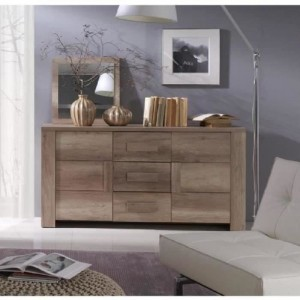 Buffet, bahut, enfilade moyen modèle FARRA 2 portes, 3 tiroirs. Idéal pour votre salon ou salle à manger