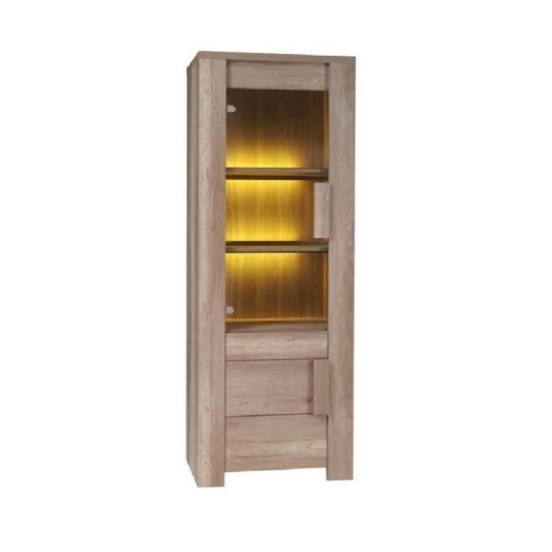 Vitrine, bibliothèque petit modèle FARRA + LED. Style contemporain et moderne pour votre salon ou salle à manger.
