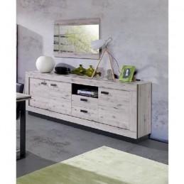 PRICE FACTORY - Buffet grand modèle + miroir MALAGA coloris chêne wellington
