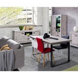 PRICE FACTORY - Ensemble MALA pour salle à manger, coloris chêne wellington. Buffet + vitrine avec LED + table 180.