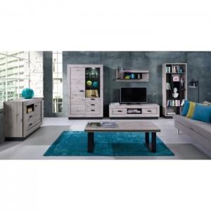 PRICE FACTORY - Meuble TV grand modèle MALA coloris chêne wellington.