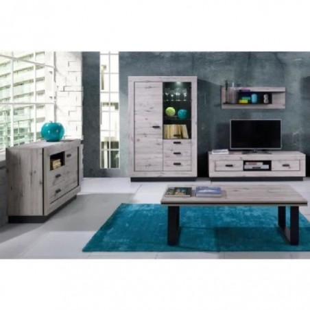 Ensemble MALA pour salon coloris chêne wellington. Meuble TV + table basse + petit buffet + vitrine + étagère.