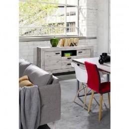 PRICE FACTORY - Buffet, bahut moyen modèle MALA coloris chêne wellington.